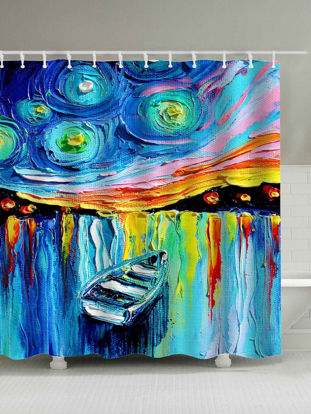 Waterproof Boat In Lake Oil Painting Shower Curtain Painting