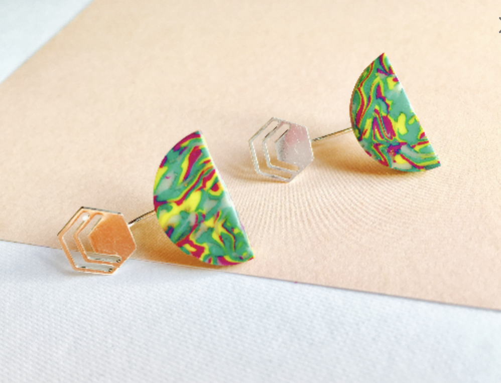 Ear Jackets Front And Back Earrings Geometric Stud Funky Swing Polymer Clay Colourful