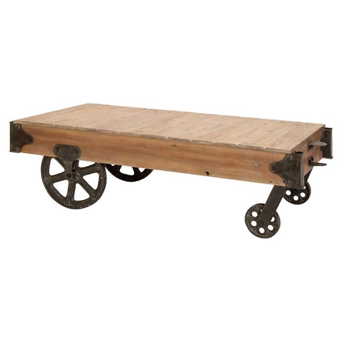 Loft Wood Utility Cart Coffee Table Coffee Table Styling Industrial Coffee Table Coffee Table