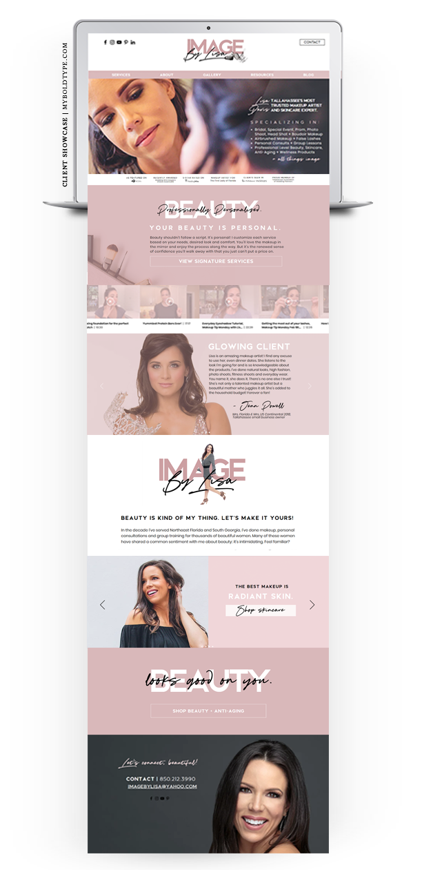 Client Showcase Web Makeover for Image by Lisa Makeup