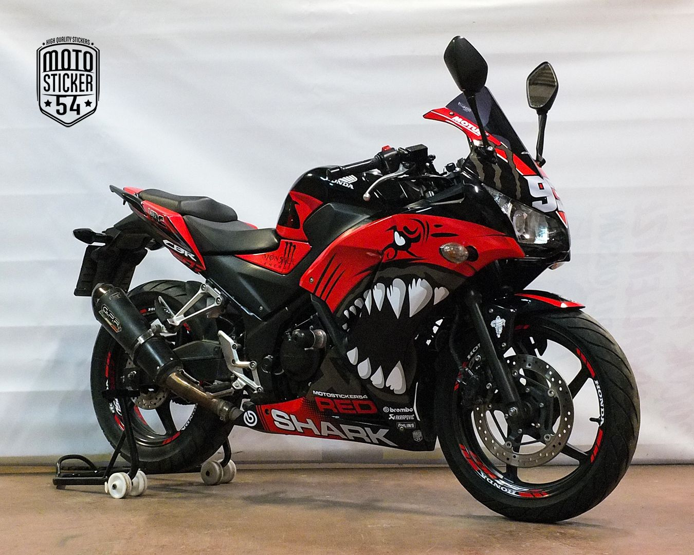 Honda cbr250r special design red shark sticker kit motosticker54 motorcycle honda cbr sticker wrap