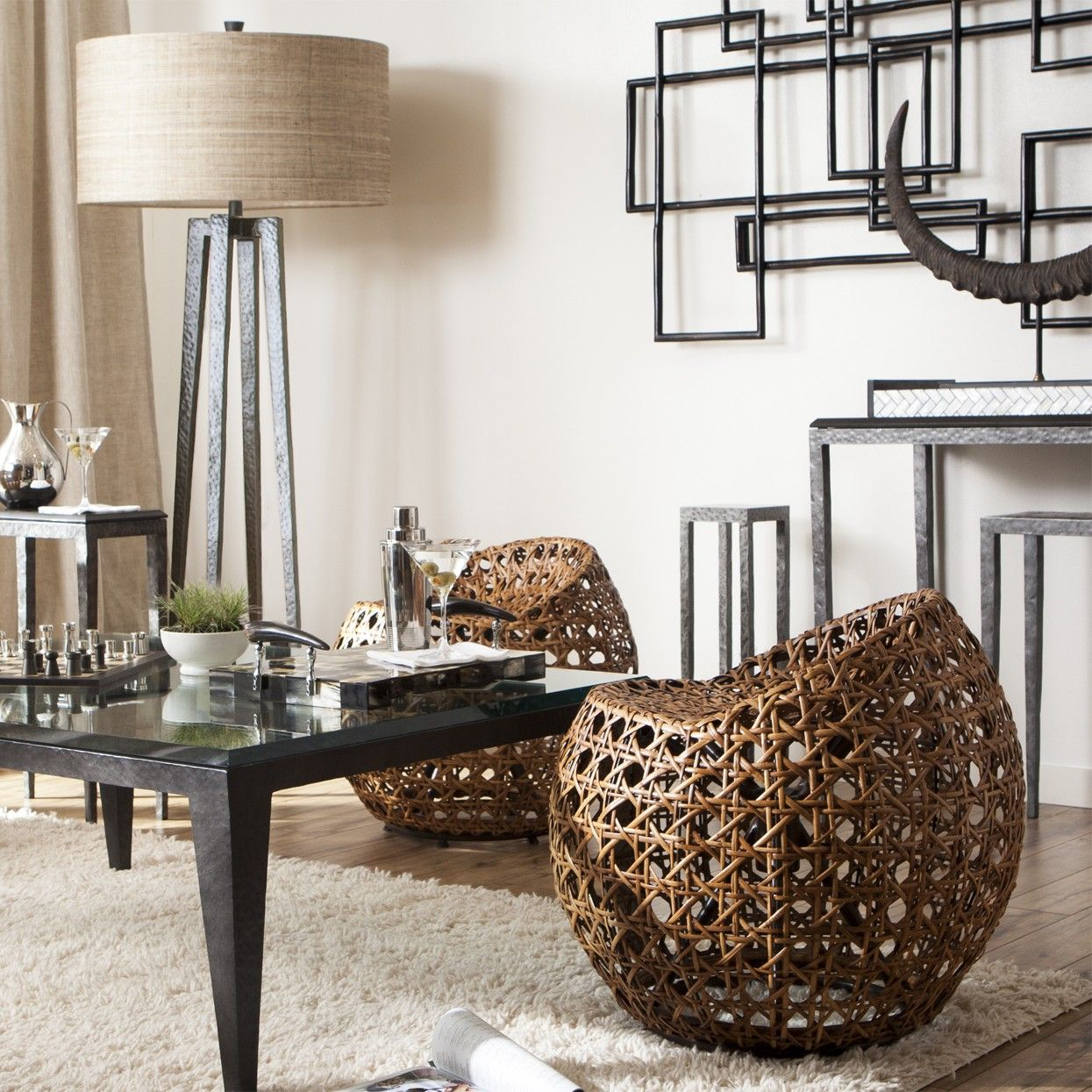 Manhattan Rattan Swivel Stool Furniture, Home