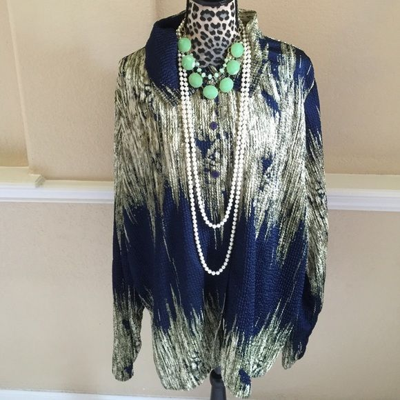 Navy blue and light green wrinkled blouse Navy blue and light green wrinkled blouse. Size 1X but big enough to be 2X. Very pretty. JEWELRY SOLD SEPARATELY. Tops Blouses