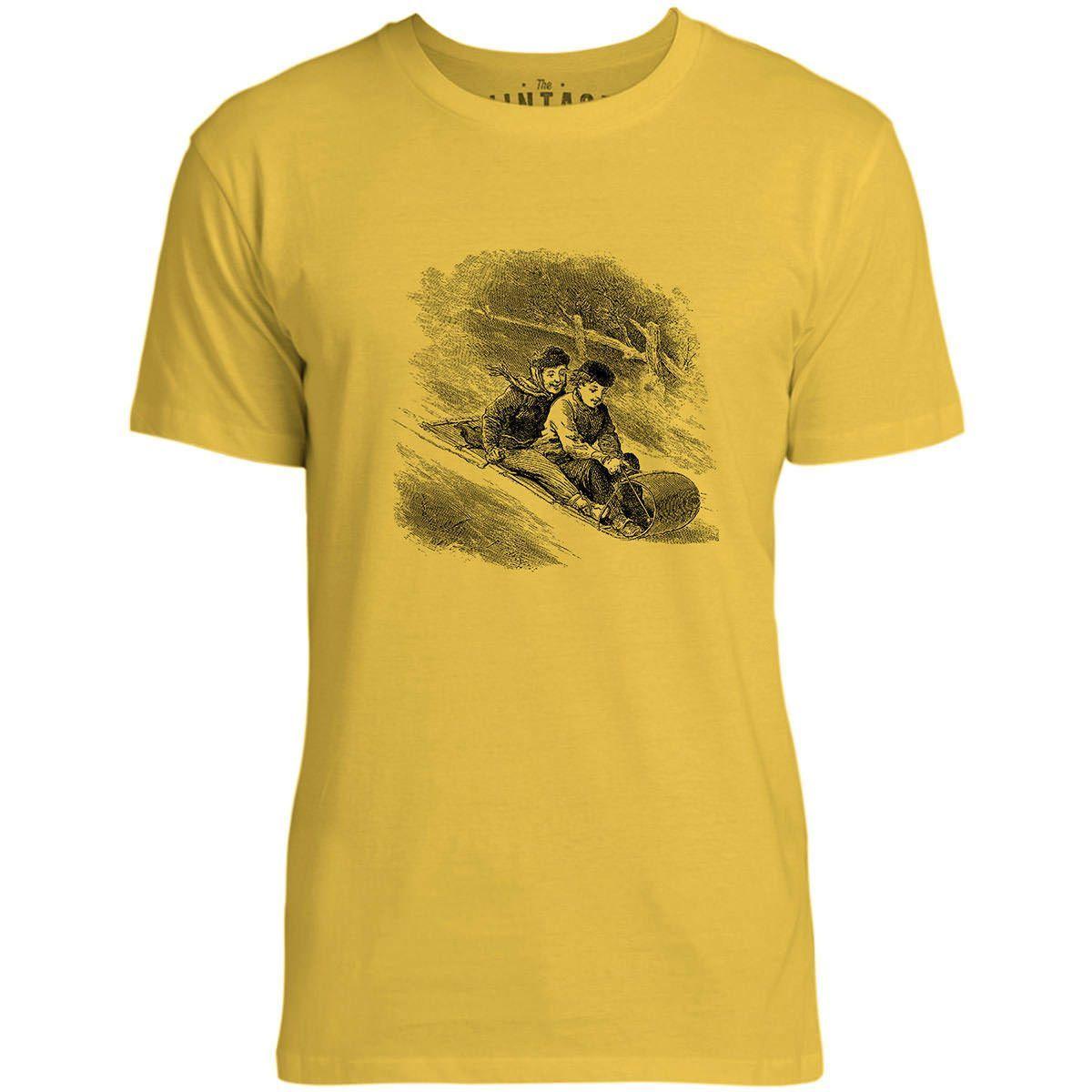 Mintage Snow Toboggan Mens Fine Jersey T-Shirt (Lemon)