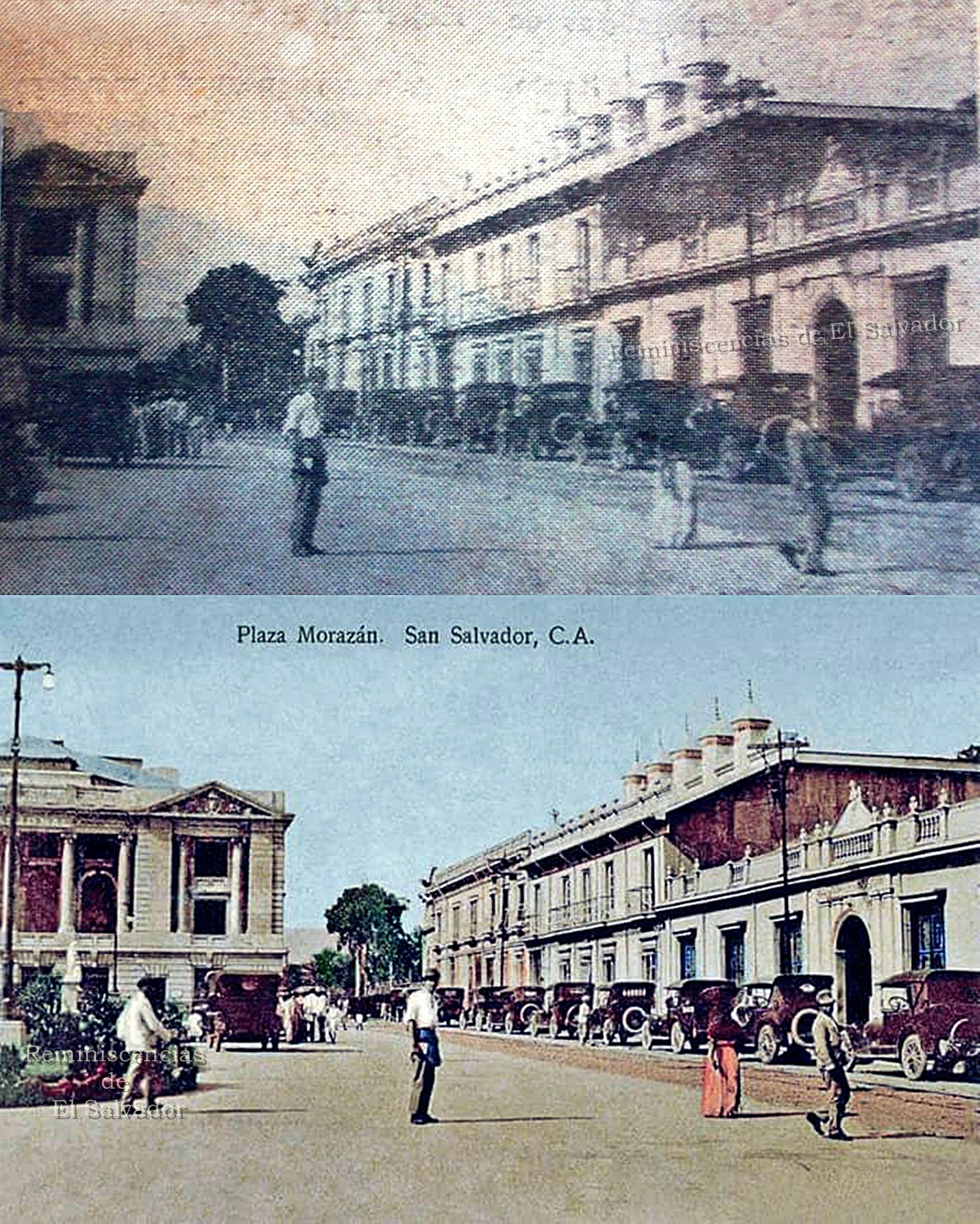 Arriba: Recorte de periódico, Plaza Morazan , al frente Banco ...