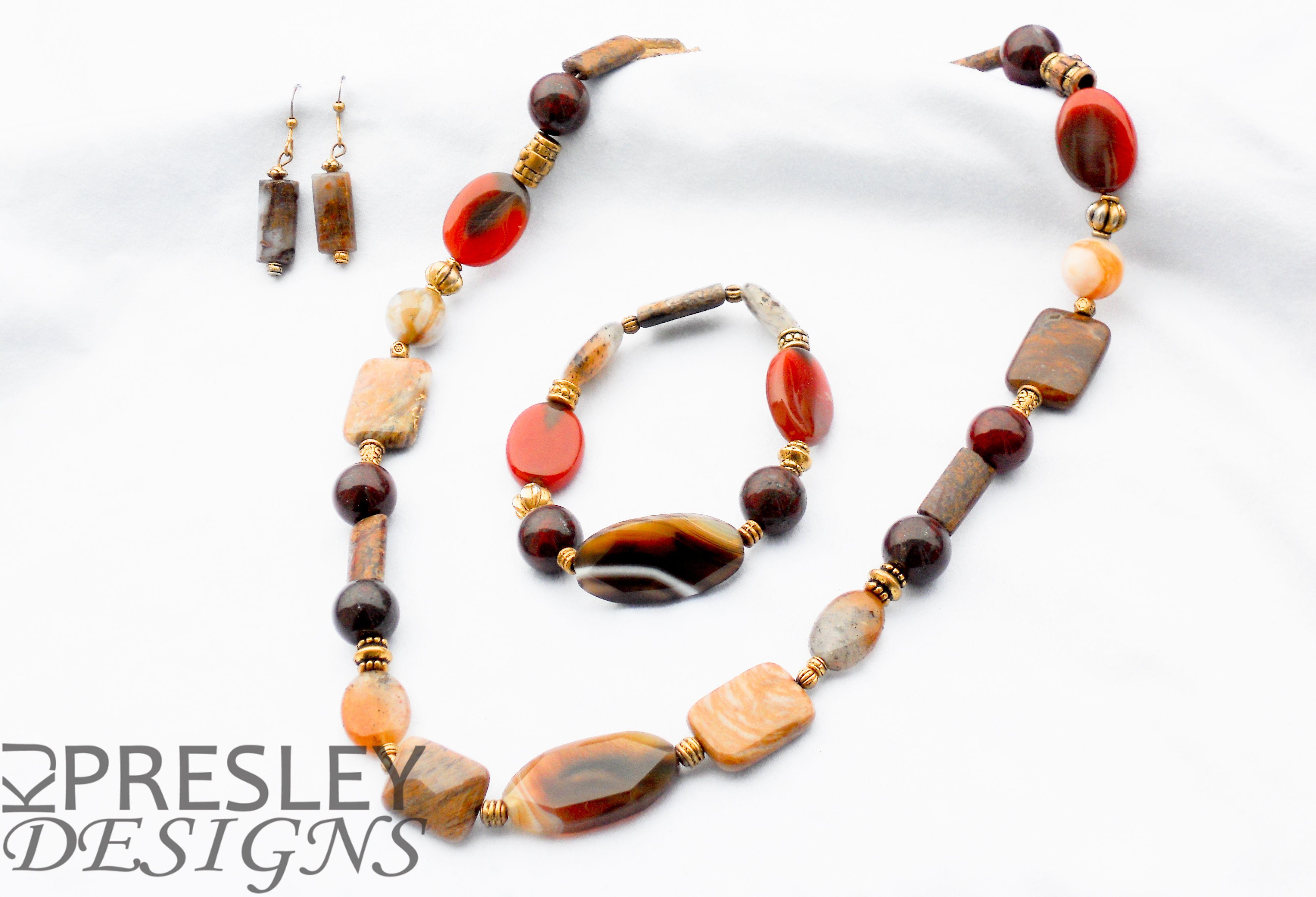 Red Carnelian Agate, Phantom Quartz, & Red Poppy Jasper Jewelry Set by KJPresley Designs  http://www.kjpresleydesigns.com/  #jewelry #necklace #bracelet #earrings @KJPresleyDesgns