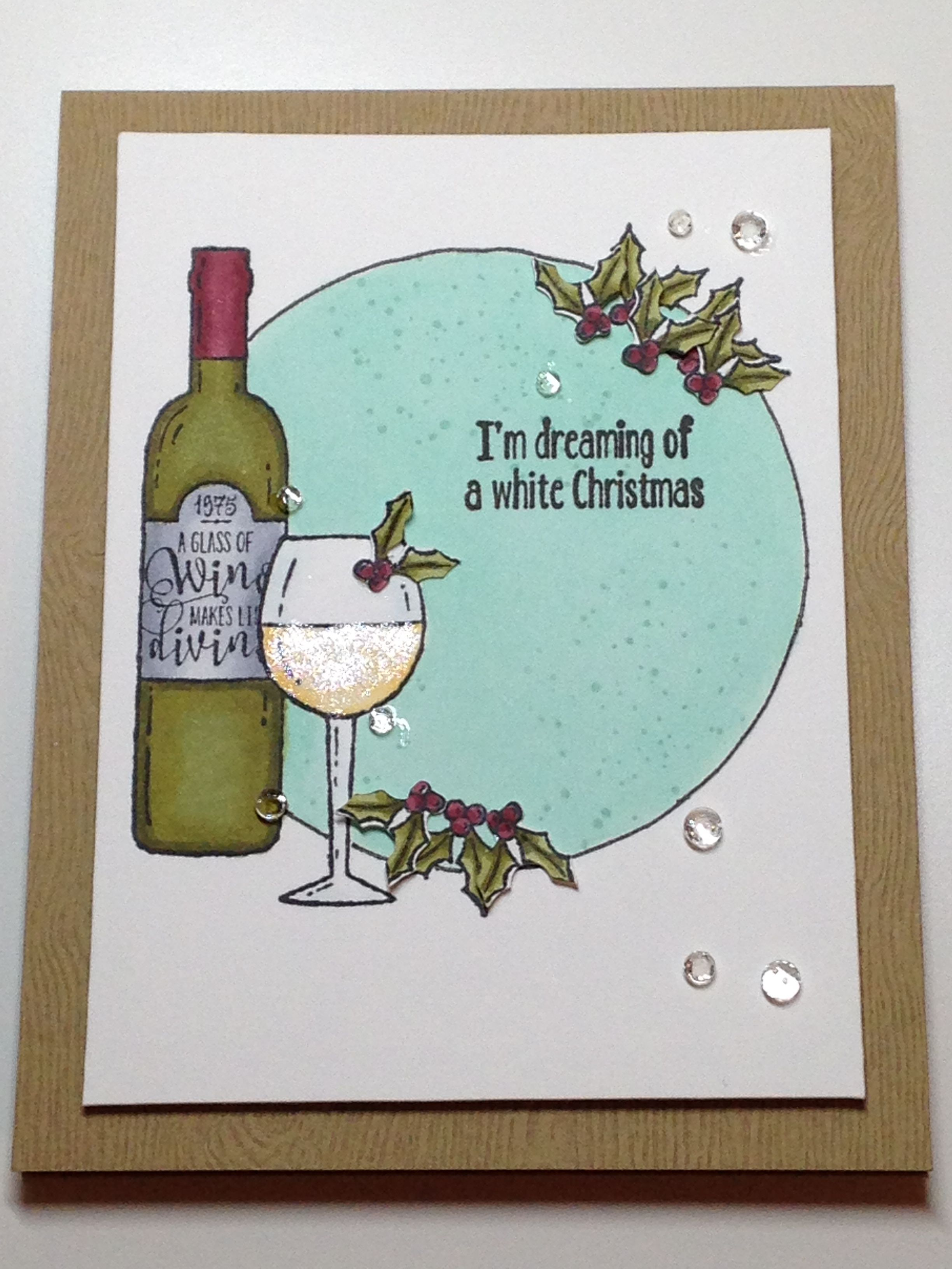 Christmas Card - Stampin' Up Stamps: Half Full, Magical Mermaid - Inks: Memento Tuxedo Black, Stampin' Up Pool Party - Copics: R56, R59, YG93, YG95, YG97, YR30, YR31, C3, C2, C0, BG10, BG70 - Studio Katia Sparkling Crystals - Spectrum Noir Sparkle Clear Overlay - Cardstock: Neenah Classic Crest Cover Solar White, Essentials by Ellen Woodgrain Embossed Tan
