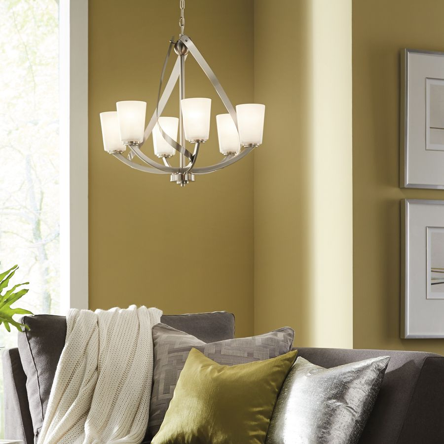 Shop kichler lighting layla 6 light brushed nickel chandelier at lighting - Kichler dining room lighting ideas ...
