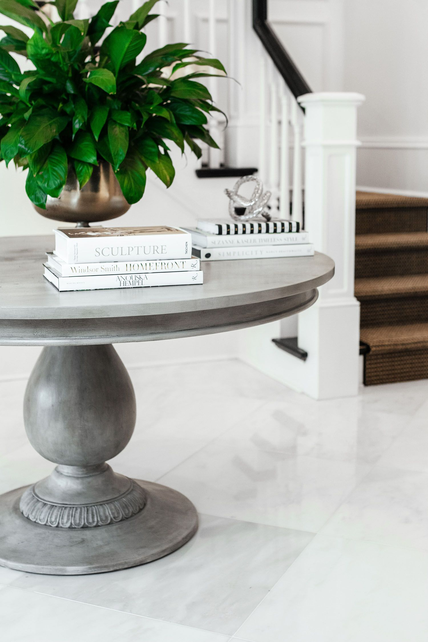 Paris Grey Chalk Paint® And Dark Chalk Paint® Wax On Foyer Table |  Charlotte Pedestal Table From AVE Raw | Foyer And Entry Ideas And  Inspiration | Home ...