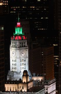 wrigley building in downtown chicago with holiday lights my kind