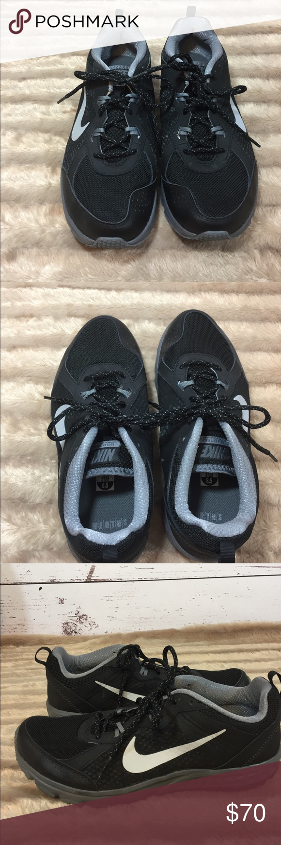 f32c4a22a76 Nike Men s Wild Trail Running Shoe Size 8.5 Nike Men s Wild Trail Running  Shoe Size 8.5 Black and Gray Light weight These shoes run small.
