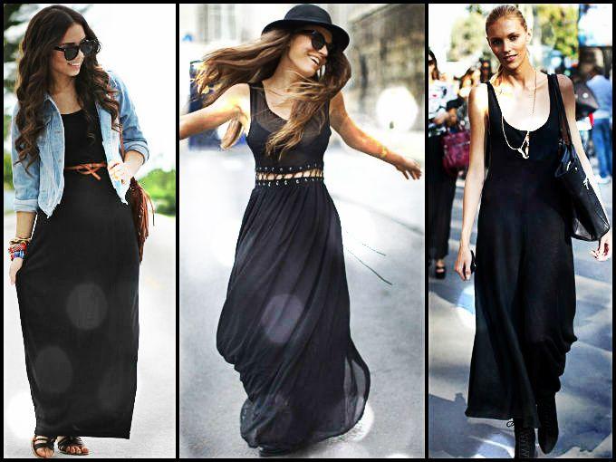 Outfits con maxi vestido negro
