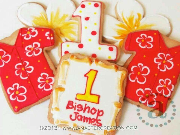 hawaiian decorated cookies | First birthday hawaiian themed cookies for Bishop.