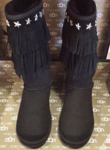 0b26e7619f6 Jimmy Choo Limited Edition UGG Boots ~ Sora ~ Fringe ~ US 11 ~ Black ...