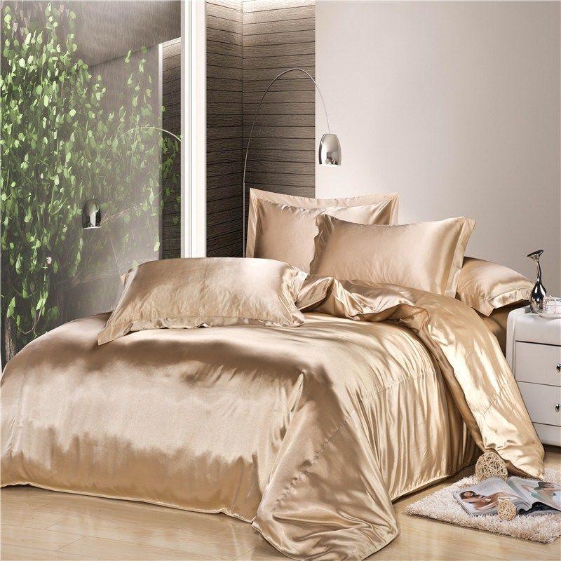 Aliexpress Com Buy Luxury Sky Blue Silk Bedding Sets 4pc Comforter Set Duvet Cover Sets Twin Full Queen King Be Satin Bedding Bed Linen Sets Silk Bedding Set