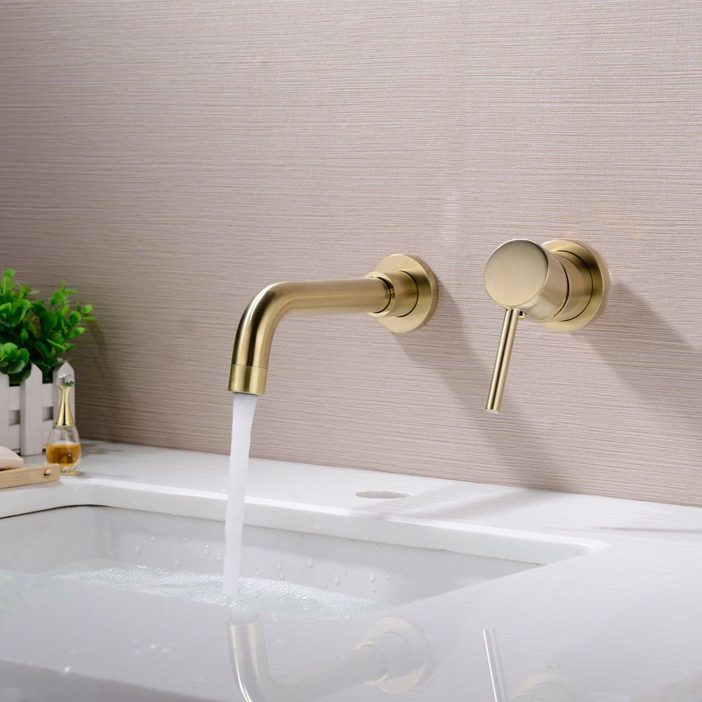 Wall Mounted Basin Faucet Hot and Cold Bath Mixer Spout Tap, Brass ...