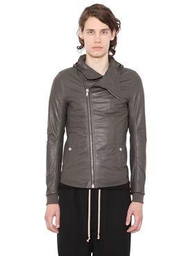 rick owens - men - leather jackets - hoded soft leather jacket