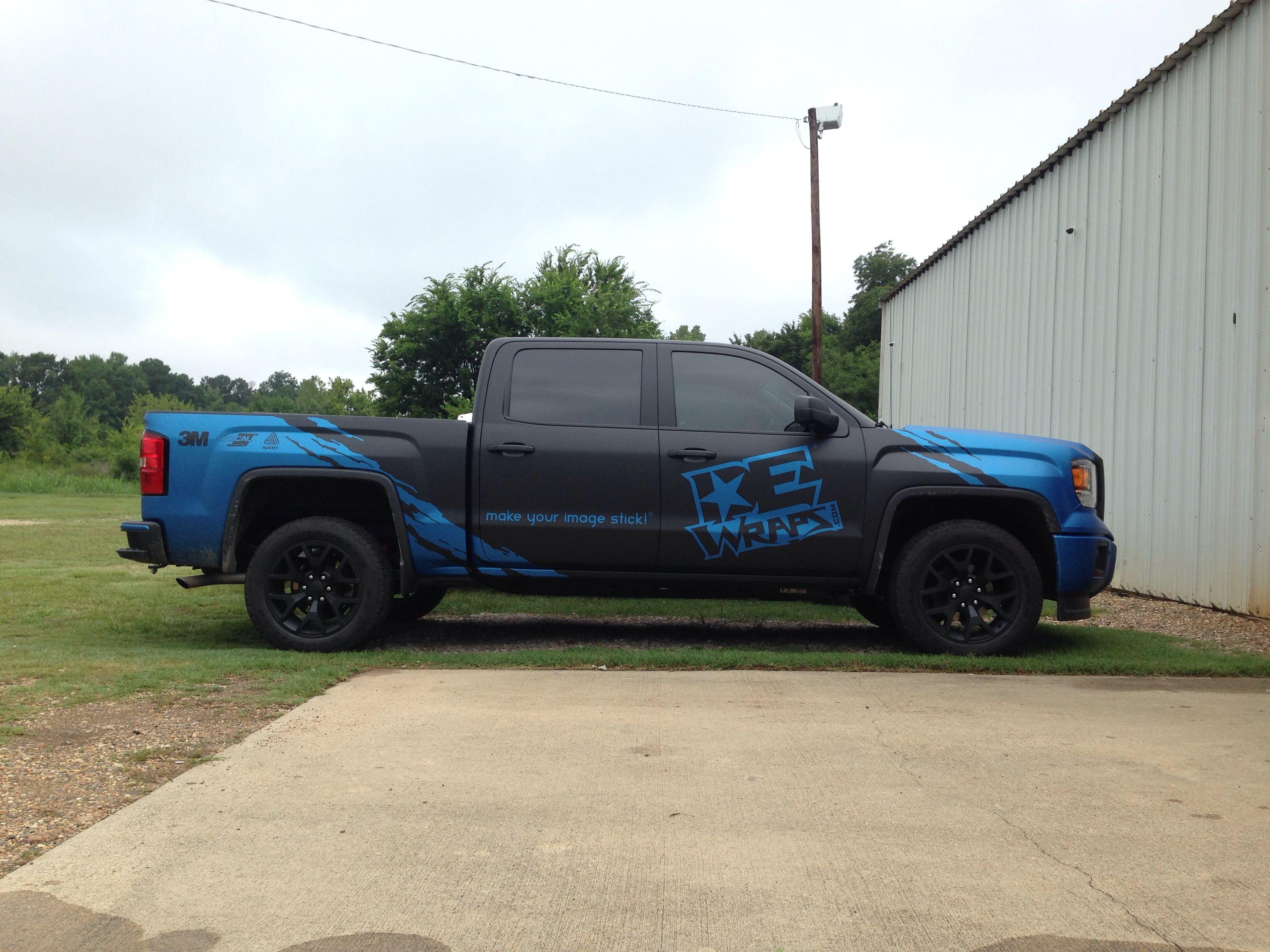 Matte Black And Matte Metallic Blue Gmc Sierra Wrap For Dewraps Com Gmc Vehicles Truck Decals New Trucks