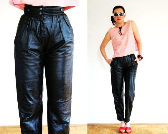 Pleated leather pants in black, high waist, small size vintage trousers from 1980's 80's, tapered trousers, peg leg pants