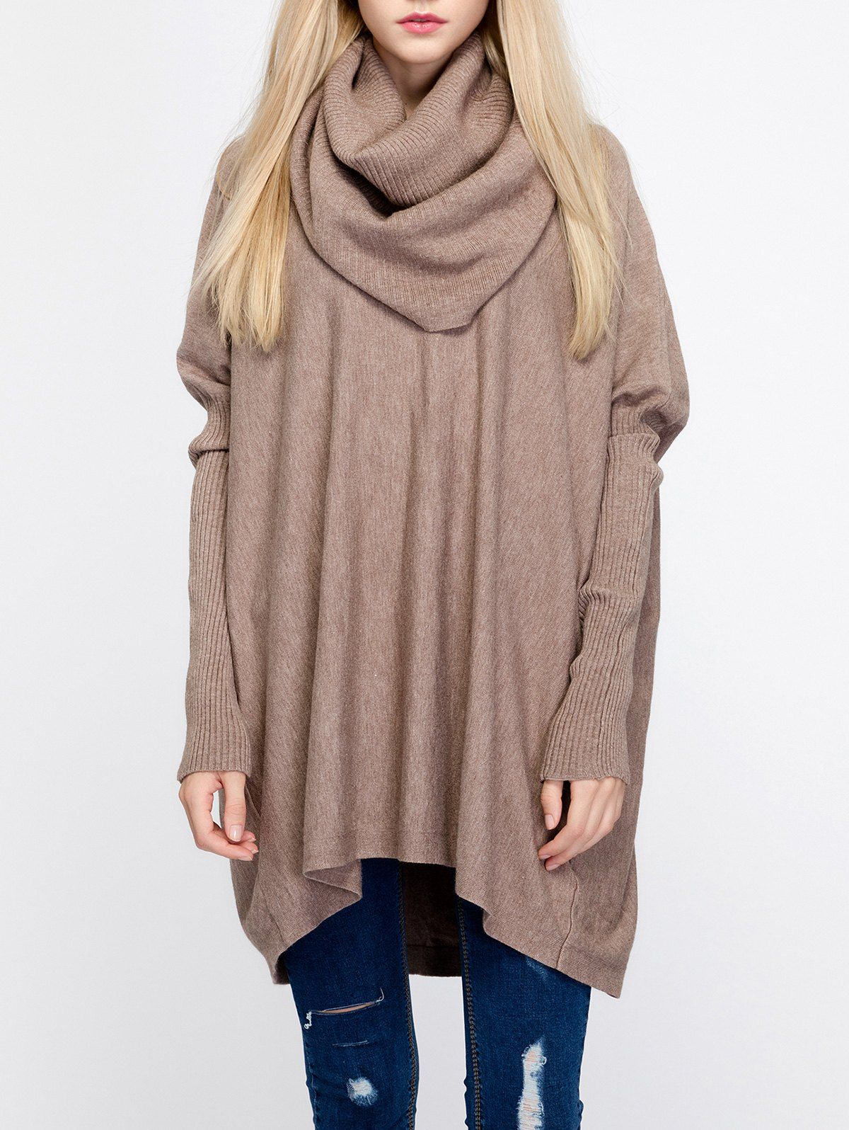 Oversized Turtleneck Tunic Ribbed Sweater | Shops, Keep calm and ...