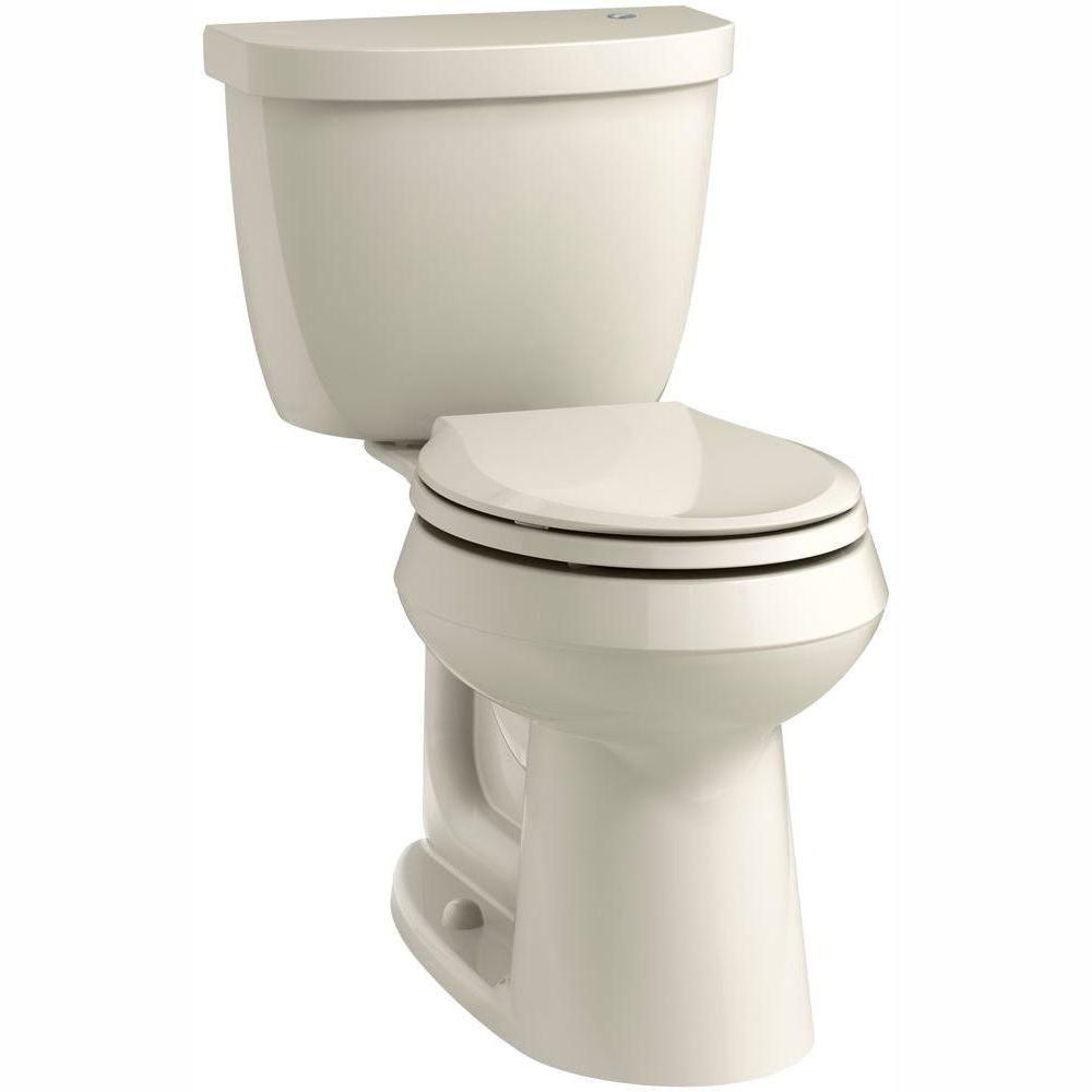 Kohler Cimarron Touchless Comfort Height 2 Piece 1 28 Gpf Single Flush Round Toilet In Almond Seat Not Included K 6419 47 Kohler Cimarron Toilet Plumbing Drawing