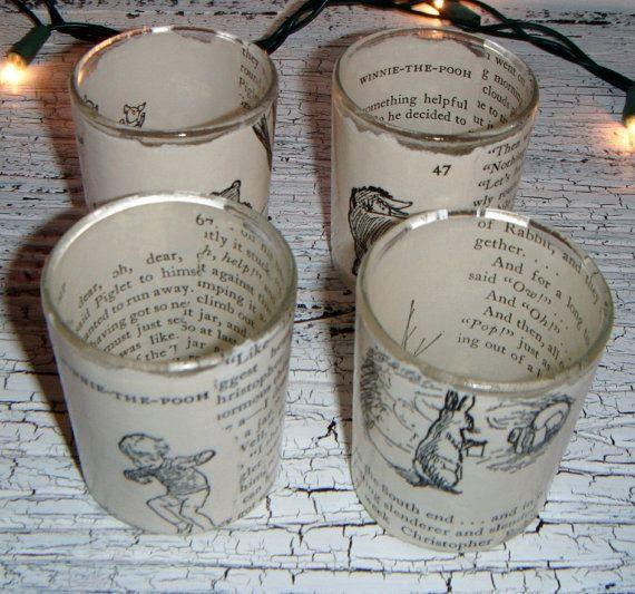 WINNIE THE POOH vintage book votive Tea Light Set by SherryLynns