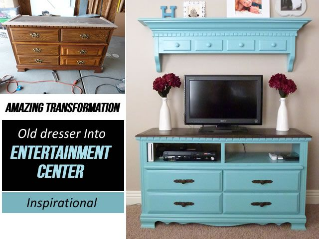 Old dresser to entertainment center makeover crafts How to renovate old furniture