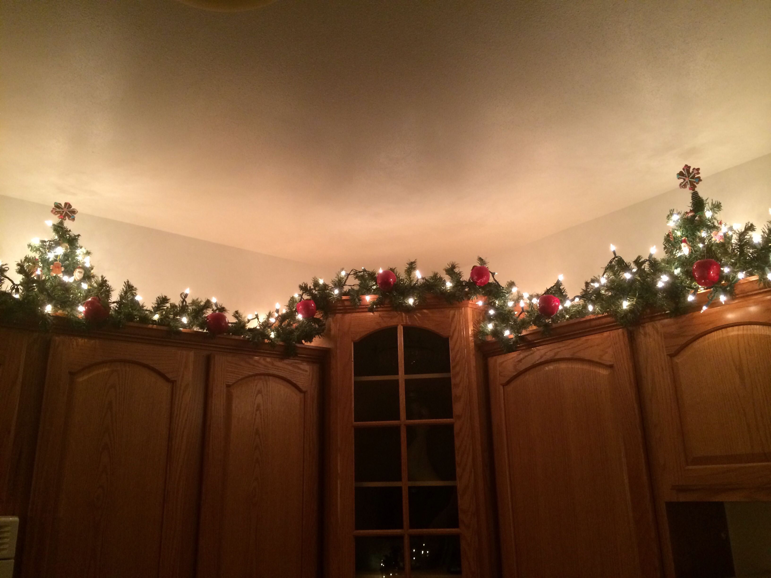 This Is My Actual Kitchen 12 Ft Garland And White Lights With Apple Ornaments And Mini Trees With Gingerb Christmas Garland Christmas Kitchen Xmas Decorations