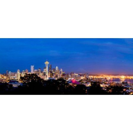 High angle view of a city at dusk Seattle King County Washington State USA 2012 Canvas Art - Panoramic Images (30 x 13)