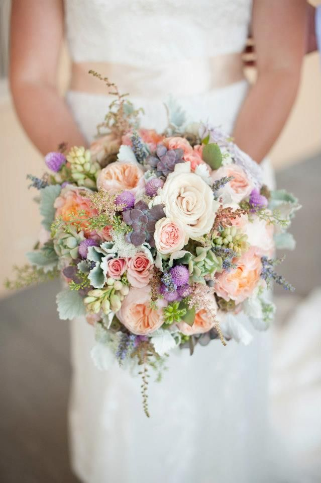 peach, grey, and lavender bouquet by Two Buds and a Blossom Floral and Event Design: www.twobudsandablossom.com  Photo by Hays Photography: www.haysphoto.com
