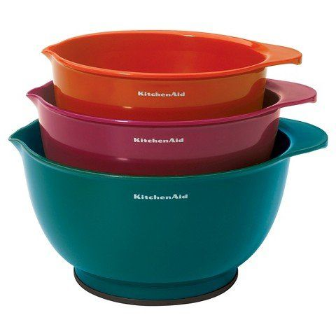 Kitchenaida 3 Piece Plastic Mixing Bowl Set Assorted Color Review Plastic Mixing Bowls Mixing Bowls Kitchen Aid