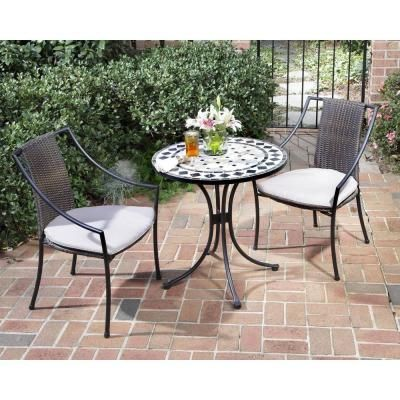 Homestyles Black And Tan 3 Piece Tile Top Patio Bistro Set With
