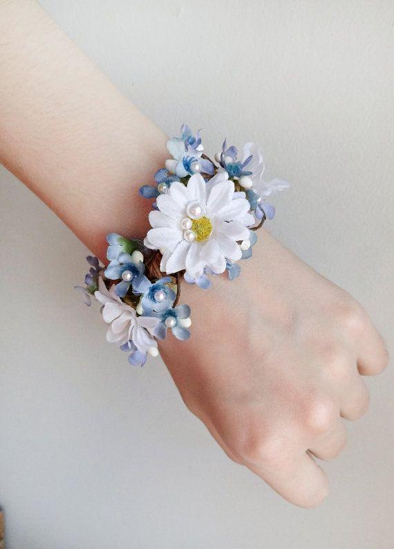 Daisy Corsage Bracelet Wrist Fl Bridal Cuff Bridesmaid Forget Me Not Jewelry Blue Flower Pinterest