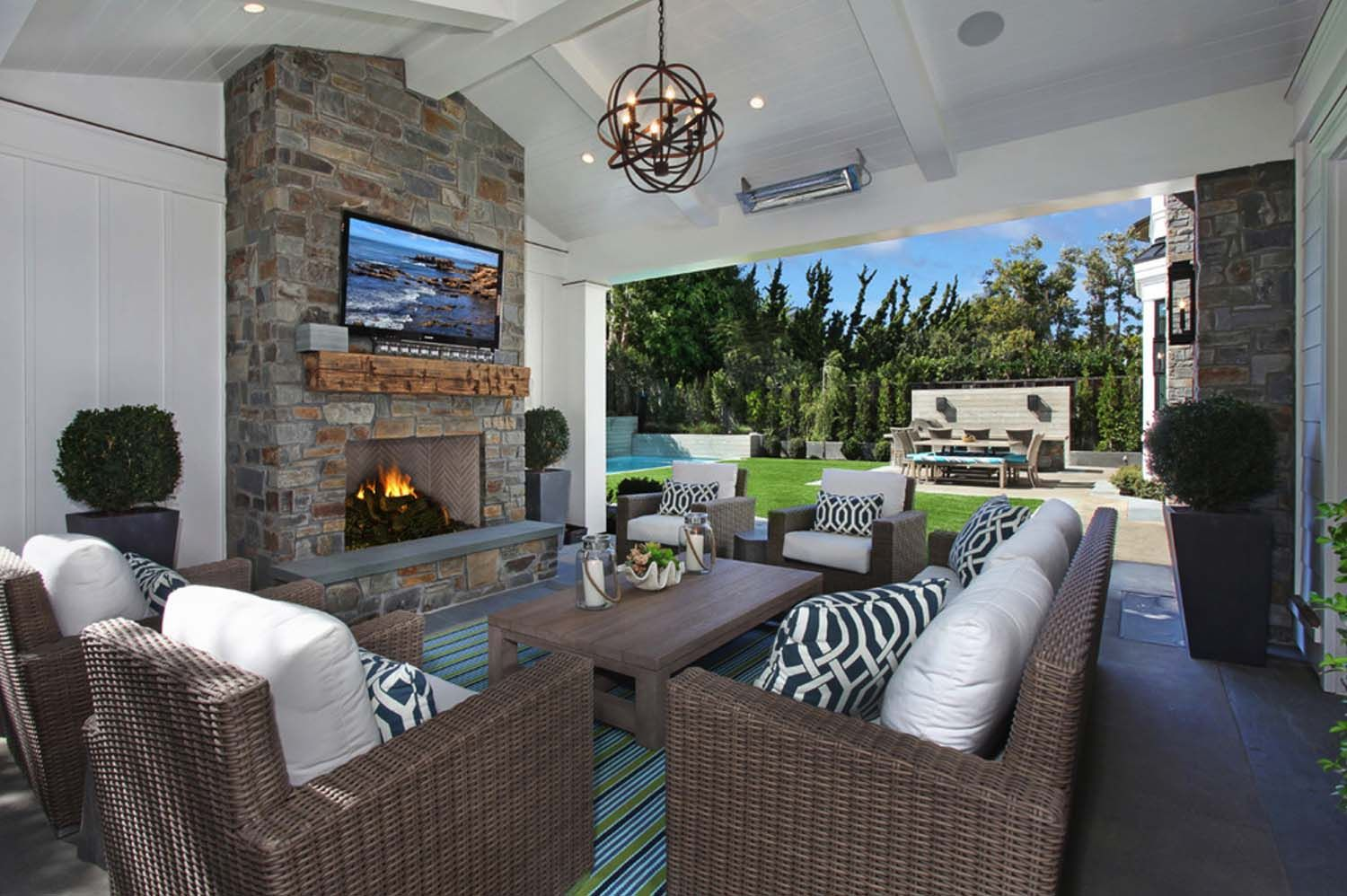Gorgeous Newport Beach House Evoking A Traditional Coastal Style Outdoor Living Outdoor Rooms Outdoor Living Rooms Family home with outdoor living room