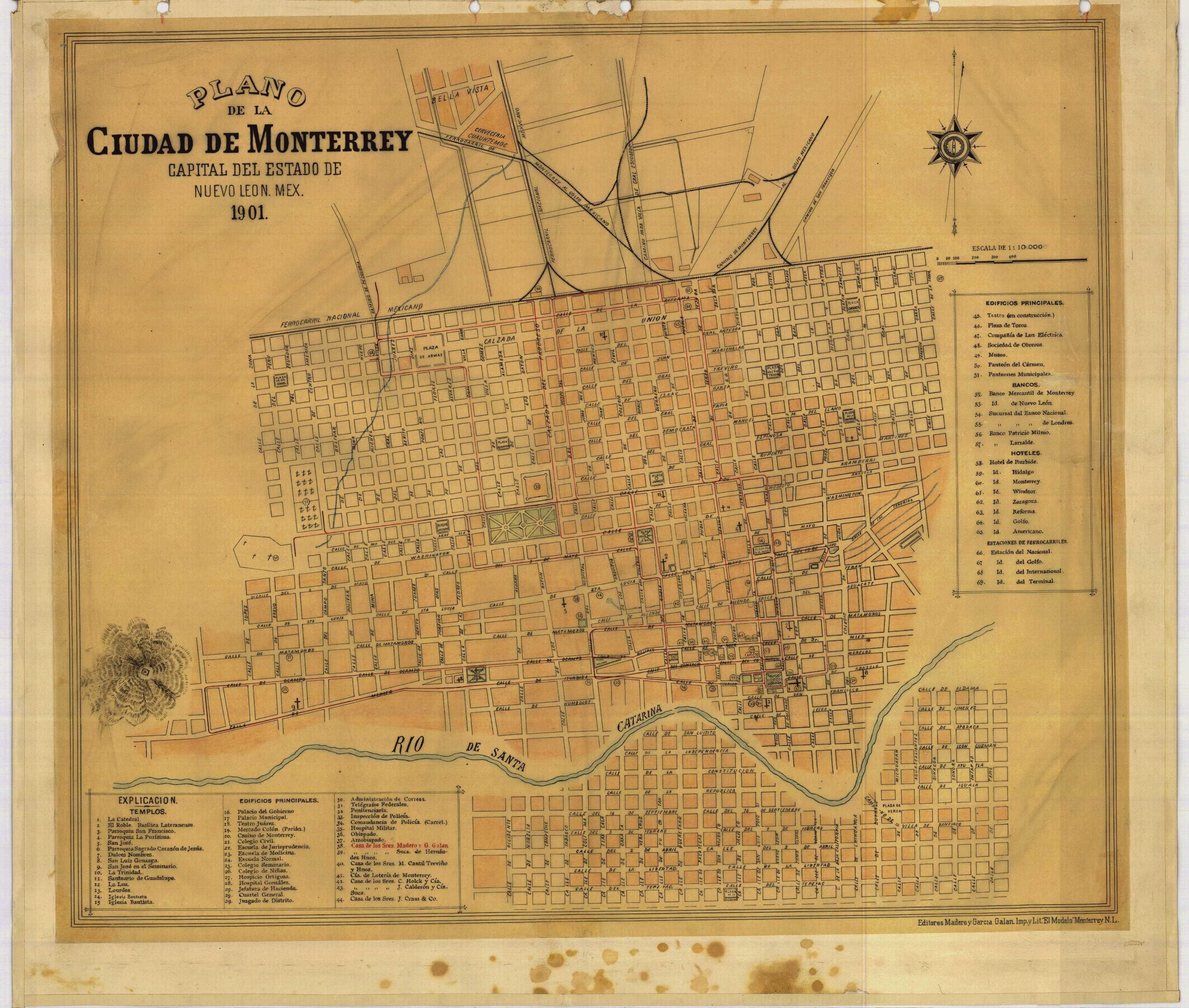 Pin de Laura Ayala en Monterrey, N. L. México | Mapas y ... |Old Monterrey Mexico Map
