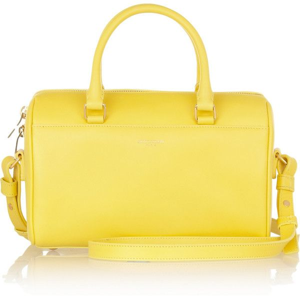 Saint Laurent Classic Duffle 3 leather bag ($1,250) ❤ liked on Polyvore featuring bags, handbags, totes, yellow, leather purse, handbags totes, genuine leather purse, man bag and yellow leather purse