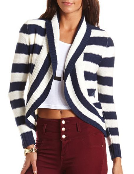 56c851b57d Striped Knit Cocoon Cardigan  Charlotte Russe