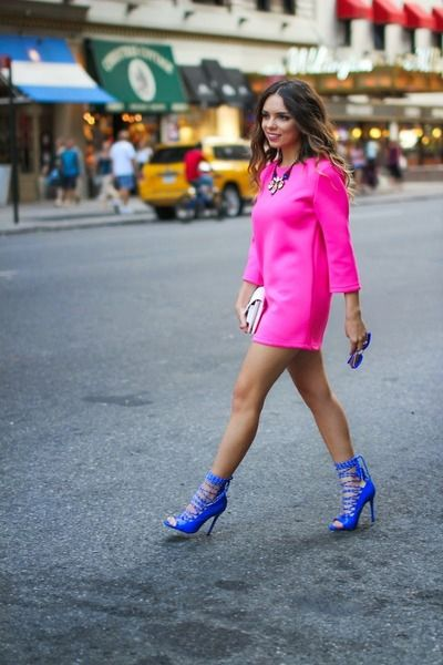 NYFW day 2: the pink dress   Hot pink