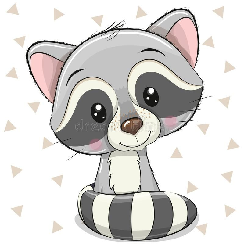 Cartoon Raccoon On A White Background Stock Vector – Illustration of card, girl: 148243301