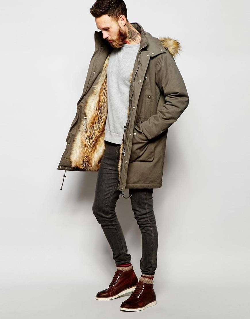 259a5ffce52dd ASOS | ASOS Faux Fur Lined Parka Jacket In Khaki at ASOS | Man Style ...