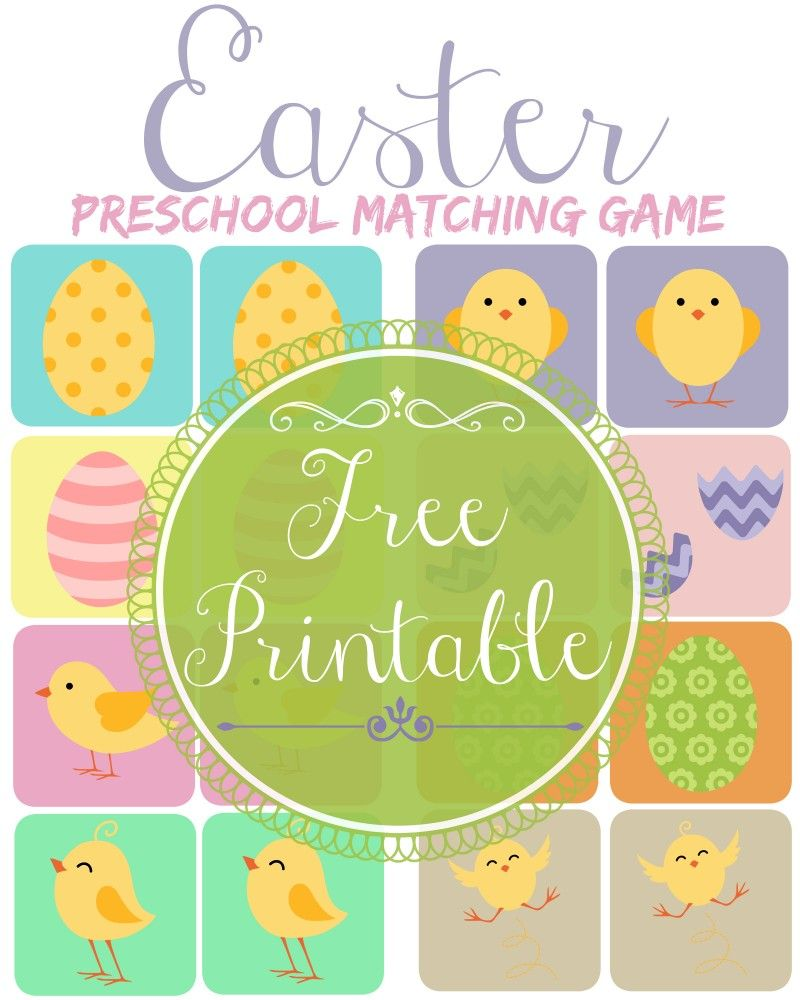 Adorable Free printable preschool Easter matching game is perfect ...