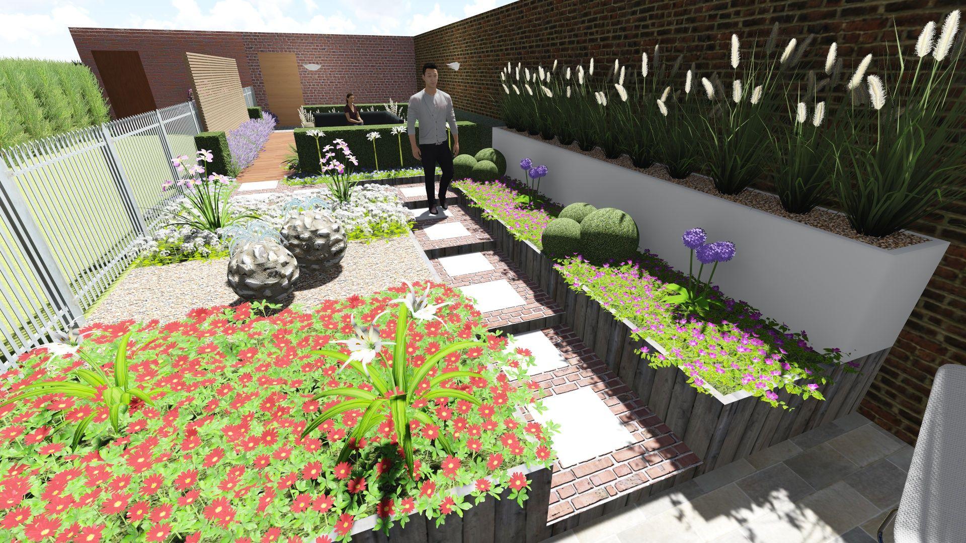 3d ontwerp stadstuin met hoogteverschil tuinarchitectuur for 3d tuinarchitect
