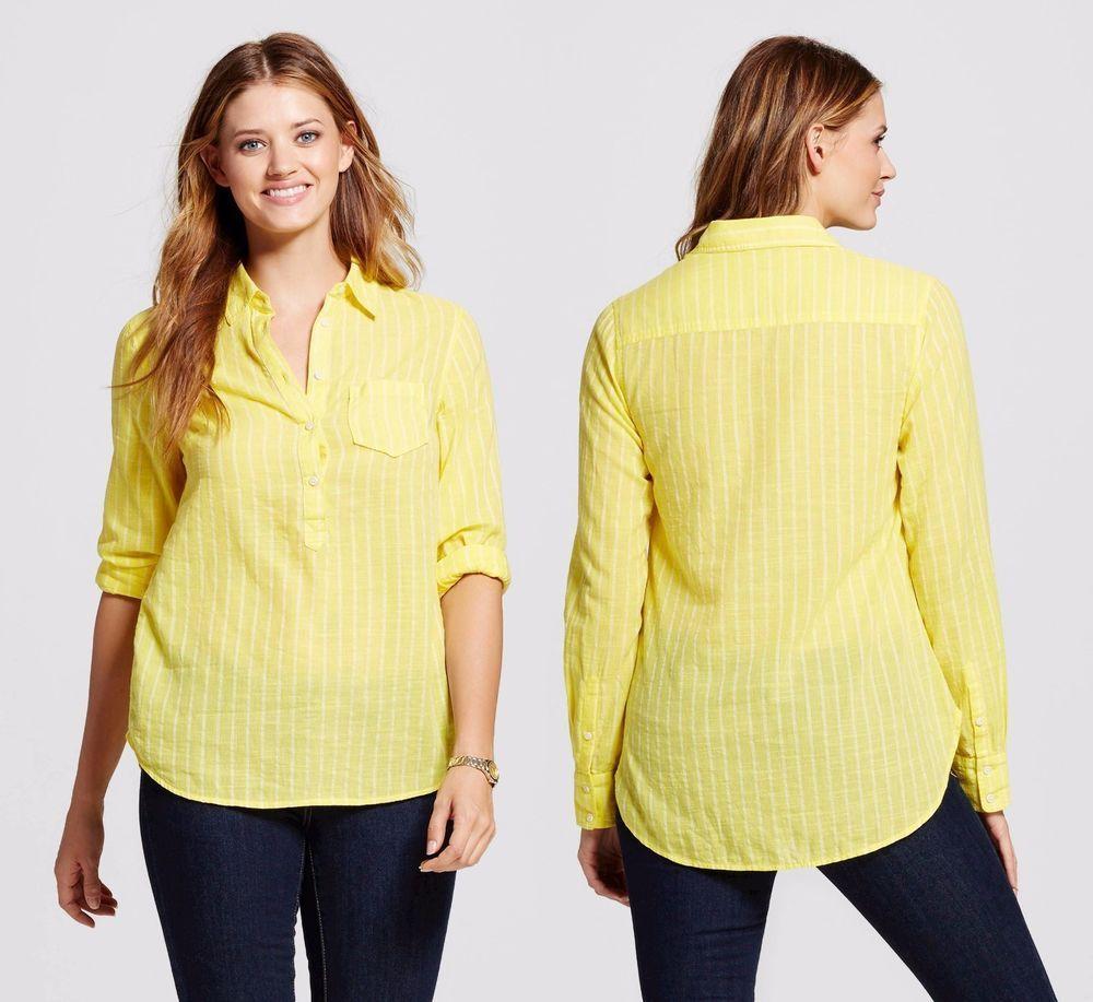 231d7c544b9e58 New MERONA sz M Yellow Bliss Stripe Favorite Shirt Long Sleeve Shirttail  Hem #fashion #