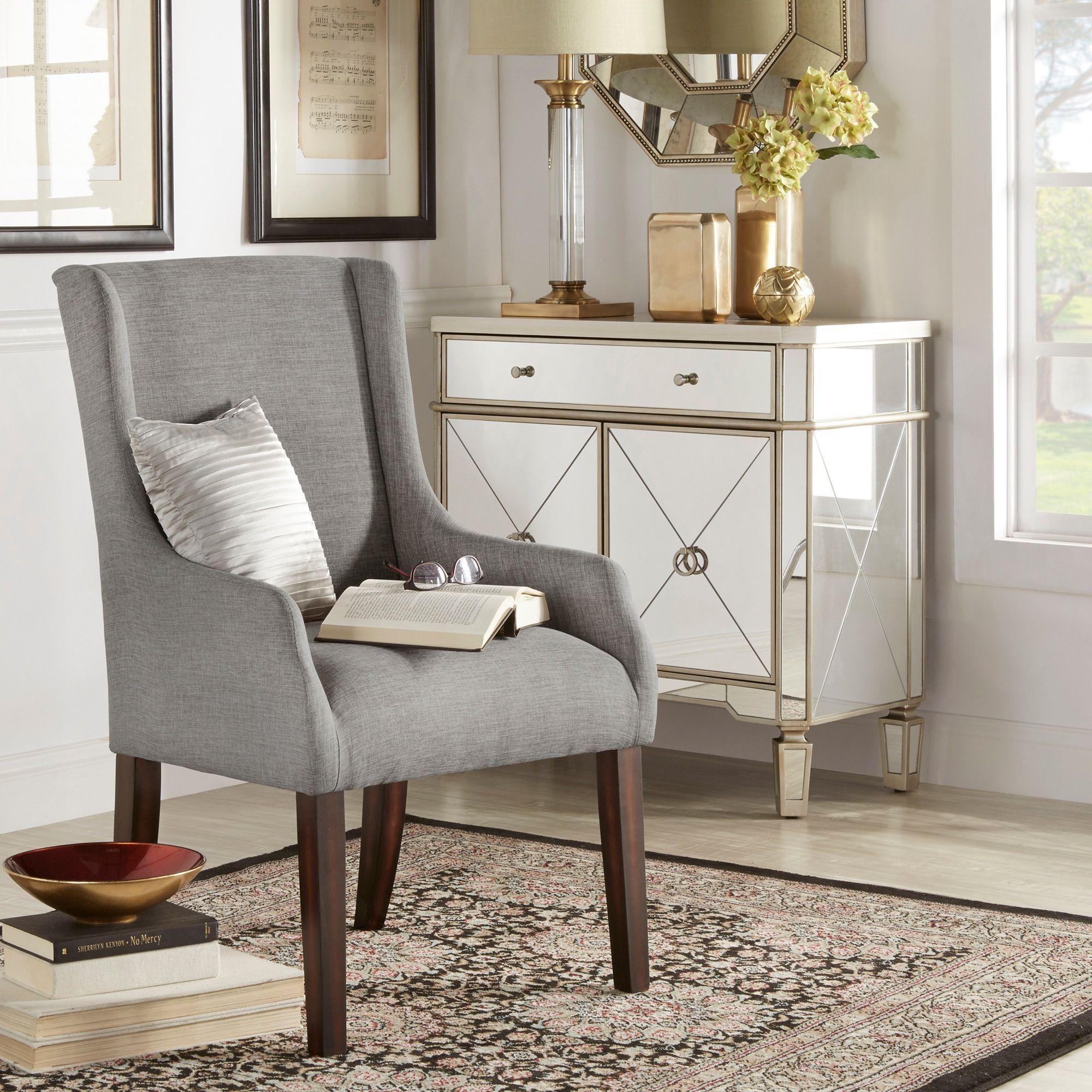 Inspire Q Jourdan Linen Sloped Arm Hostess Chair (Gray Linen), Grey