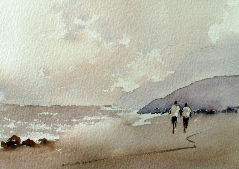 Painting the sea, people and birds with watercolor. Basics