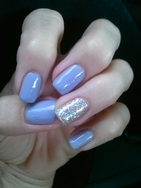 Periwinkle And Silver Nails Prom Gel Polish