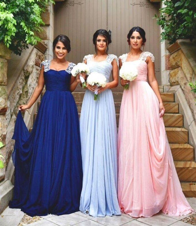 D211 Royal Blue Light Blue Light Pink Long Bridesmaid Dress In