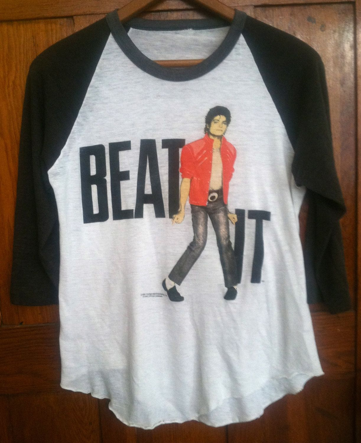 Black t shirt michaels - Vintage Michael Jackson Beat It 1984 3 4 Length Baseball T Shirt Xs Small