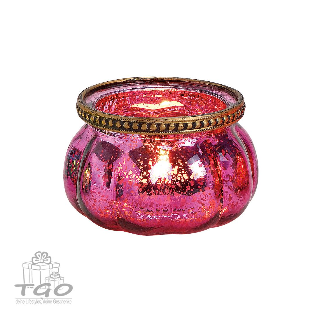 Deko Windlicht Teelichthalter aus Glas Mosaik lila// rot