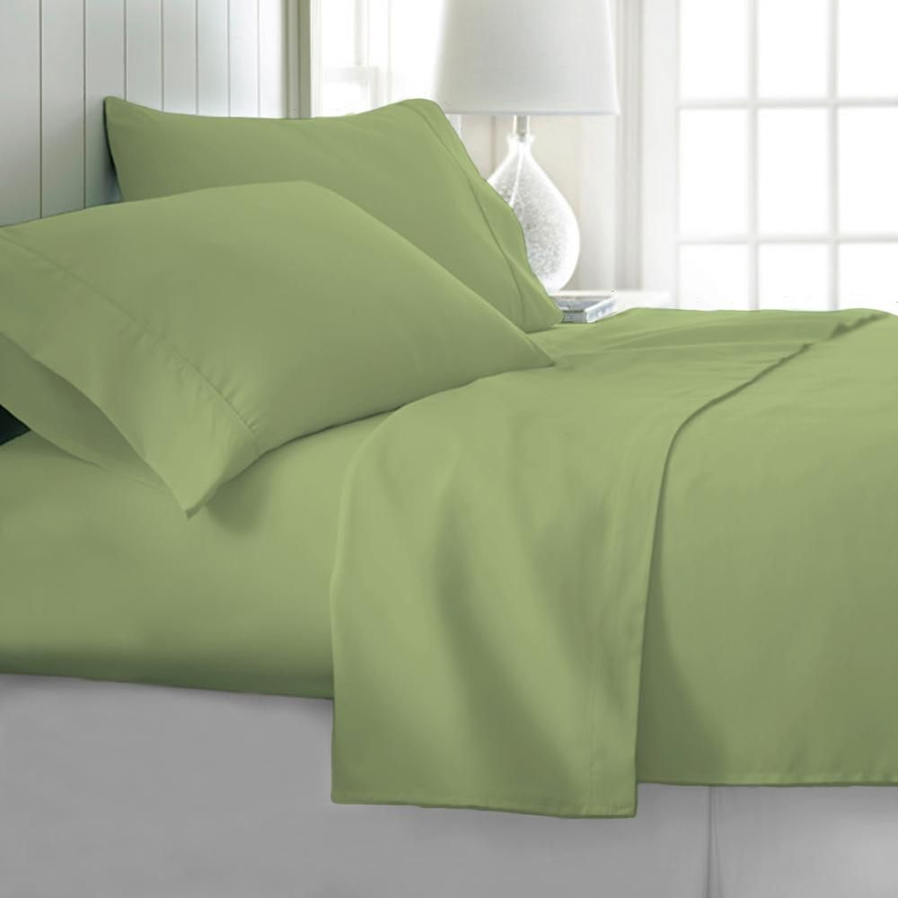 Tagco Usa 4 Piece Sage Solid 1800 Thread Count Microfiber King